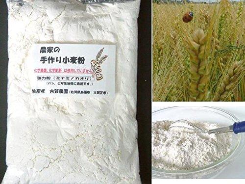 佐賀県産 無農薬、無化学肥料 小麦粉 強力粉(ミナミノカオリ) 3kg(1kgx3)