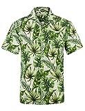 アロハシャツ メンズ 半袖 軽量 ハワイ風 プリントシャツ 通気速乾 夏 オシャレ ウェディング 和柄シャツ 032ボタニカル 日本XXXXL(US XXXL)