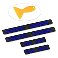 Maite 4個 3D 炭素繊維ドア敷居トリムプロテクターガード スクレーパー付き 適用 フォルクスワーゲン ゴルフジェッタ パサート ポロ(ブルー)
