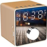 Alarm Clock Radio Wireless Bluetooth Speaker Bedside Alarm Clocks Dual Alarm Clock FM Radio One-Click Recording LED Display Sleepers Home Bedroom Kitchen Office Kids (Gold)