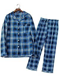 【紳士】メンズパジャマ チェック柄 無地 星柄 秋冬用 長袖 前開き 100% コットン 上下セット