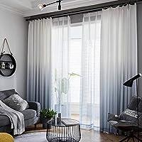 グラデーション カーテン,1 枚 窓カーテン グロメットトップ リネン 遮光カーテン アメリカ人 パストラル 寝室 リビングルーム カーテン-A-350x270cm(138x106inch)