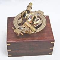 Round Brass Sextant 7.5 w/ Wooden Case Nautical Maritime Astrolabe Boat Decor by United States [並行輸入品]