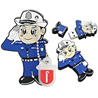 64GBのUSB 2.0フラッシュドライブノベルティ漫画の警察官の形状の親指のドライブメモリスティックペンドライブ