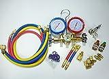 エアコン ガスチャージ マニホールドゲージ R134a R12 R22 R502 各種アタッチメント サービスバルブ&クイックカプラー付 取扱い説明CD付き