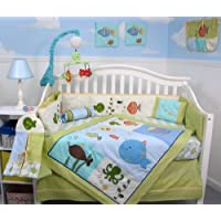 SoHo Gold Fish Aquarium Baby Crib Bedding Set 13 pcs included Diaper Bag with Changing Pad & Bottle Case by SoHo Designs