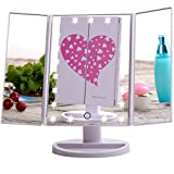 Miss Sweet Ledライト化粧鏡 スタンドミラー 三面化粧鏡 卓上ミラー (White)