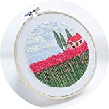 Monterey - Rose Field, Handmade Embroidery Starter Kit for Beginners (Includes Patterned Embroidery Cloth, Bamboo Hoop, Color