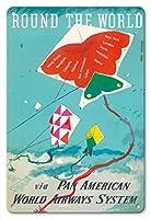 22cm x 30cmヴィンテージハワイアンティンサイン - 世界を一周 - トビ - パン・アメリカン航空経由 - ビンテージな航空会社のポスター によって作成された ドン・キングマン c.1960s