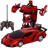電動RCカー おもちゃの車 リモコンカー ラジコンカー 無線操作 ロボットに変換することができます 非常にクールなデザイン (レッド)