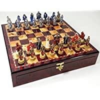Medieval Times King Arthur Sir Lancelot Camelot Knights Chess Set W/ High Gloss Cherry & Burlwood Color Storage Board 17 by HPL [並行輸入品]