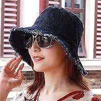 Women's Hat Ms Cap Spring Summer Small Fresh Tear Men Women Sunshade Flat Top Hat (Color : Black, Size : -)