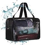 メッシュバッグ お風呂バッグ メッシュ 温泉バッグ スパバッグ バスバッグ ジャムバッグ 岩盤浴用バッグ 収納功能 ブラック