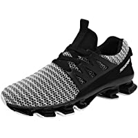 GOMNEAR Mens Running Shoes Breathable Mesh Lace-up Springblade Casual Fashion Athletic Walking Big Size Sneakers Black