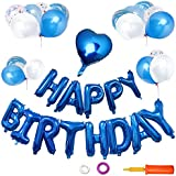 LCLOVER 誕生日 飾り付け バルーン 風船 バースデー パーティー セット ブルー 特大 HAPPY BIRTHDAY ポンプ 付き