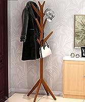 KKCFJIA シンプル 現代 ヨーロッパの現代的なシンプルなリビングルームのベッドルームハンガーソリッドウッド床のコートラック 衣類 ストレージ (色 : Brown)