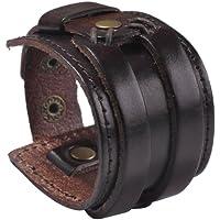 Zysta Punk Gothic Mens Genuine Leather Wristband Cuff Bangle Bracelet 7.5-8.5 Black Brown