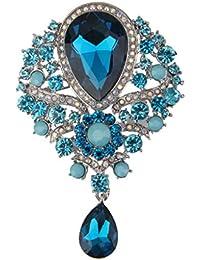 【ノーブランド品】女性 ファッション  ブライダル 結婚式 ペンダント ブローチピン 贈り物 ブルー