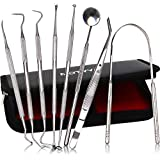 MOTYYA Dental Tools 8pcs, Professional Teeth Hygiene Kit Stainless Steel Dental Pick Cleaning Set,Tongue Scraper,Tooth Scaler,Tweezers,Anti Fog Mouth Mirror for Oral Care