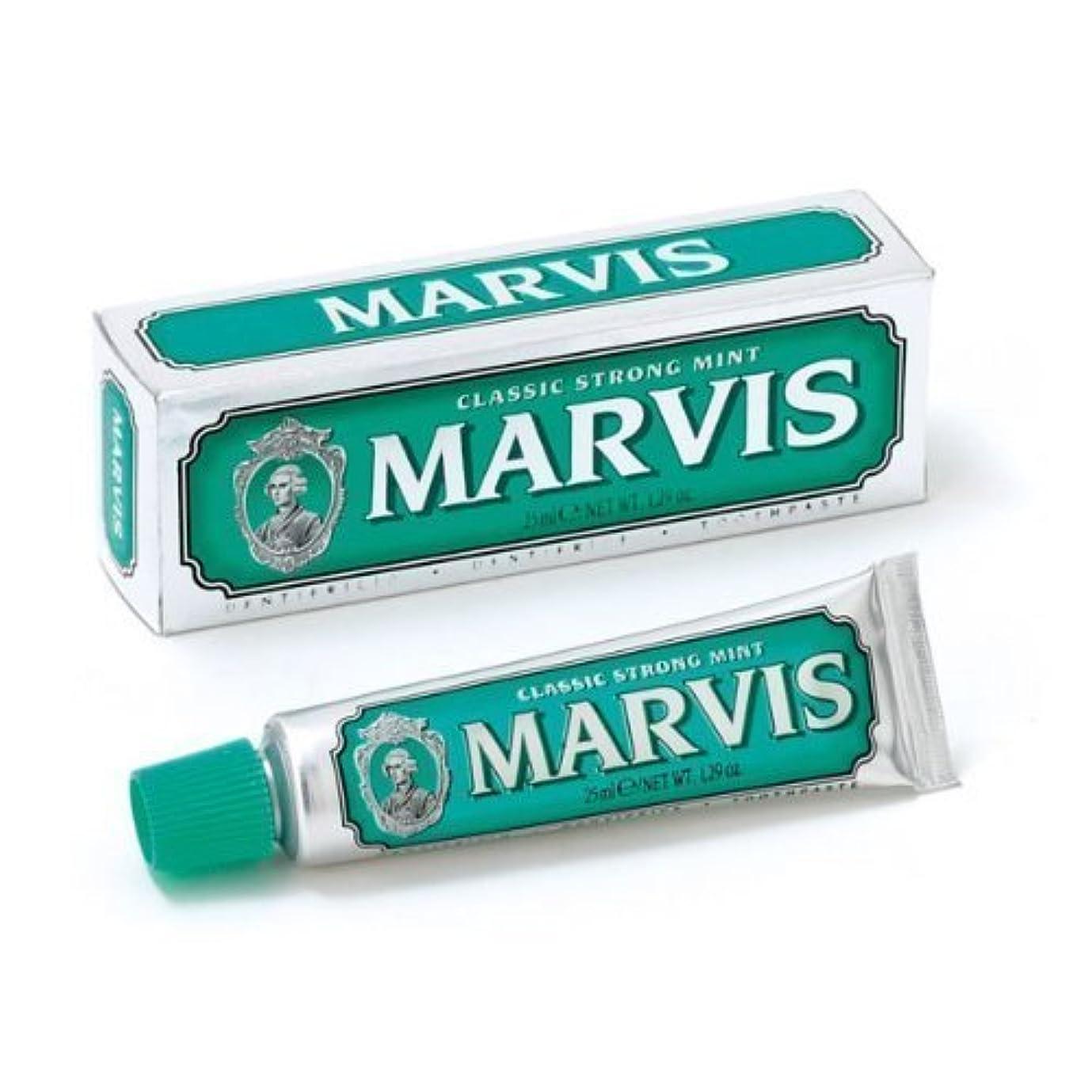 レビュー痛い高速道路Marvis Toothpaste - Classic Strong Mint 25ml Travel Size - 4 PACK by Marvis [並行輸入品]