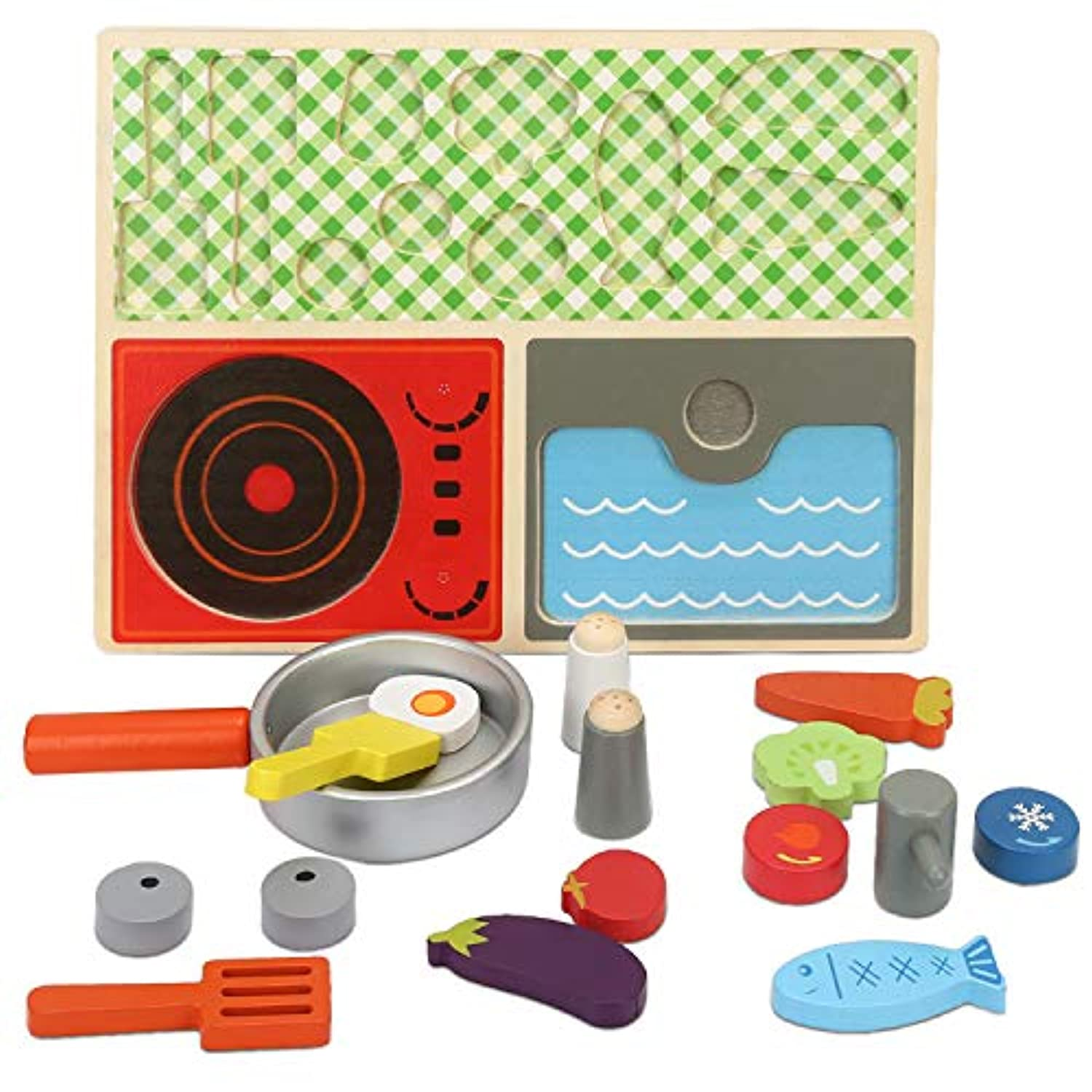 (cook set) - Amagoing Baby Pretend Play Wooden Food Kitchen Cooking Toy Set, Educational Toy