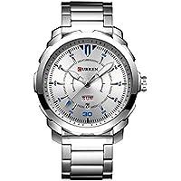 CURREN Men's Watch Stainless Steel Band Wristwatches Waterproof Quartz Watches with Calendar for Men 8266 (Silver)