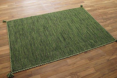 キリム調 ラグ カーペット ハンドメイド キーマ ( 90x130 cm グリーン )