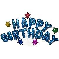 バルーン メッセージ 3種 結婚式 誕生日 子供会 イベント パーティー ( エアポンプ付き ) (HAPPY BIRTHDAY(青))