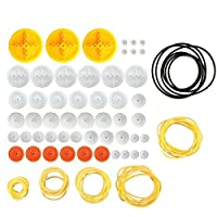 EUDAX 2mm Hole Plastic Belt Pulley Gears Combination Modulus Package Rubber Belts Band Plastic Model Accessories for DIY Robots Cars RC Toy Car Airplane [並行輸入品]