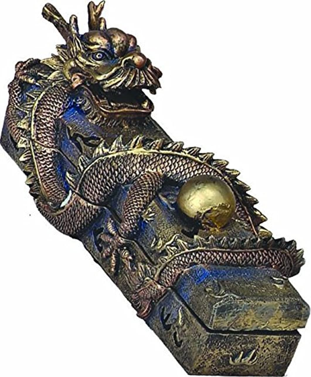統合終わりスケルトンChinese Dragon Guardingパールボックスコーンお香スティックバーナーホルダー樹脂13
