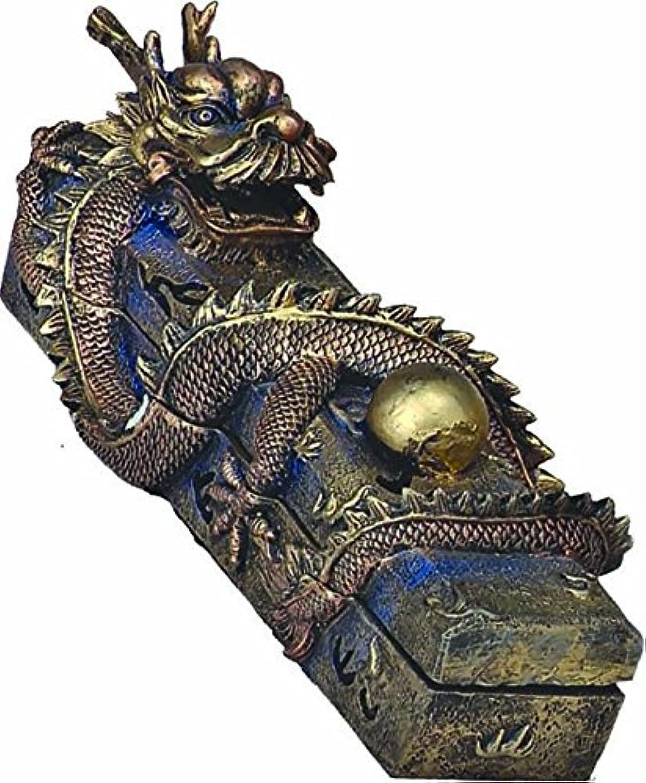 現代市長主張するChinese Dragon Guardingパールボックスコーンお香スティックバーナーホルダー樹脂13