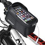 MOREZONE フレームバッグ 5.5インチ自転車スマホホルダー 大容量 収納アクセサリー イヤホンホール付き (ブラック)