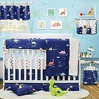 Brandream Dinosaur Crib Bedding with CribWrap Rail Cover 100% Cotton Baby Boy Bedding Sets Blue 9 Pieces [並行輸入品]