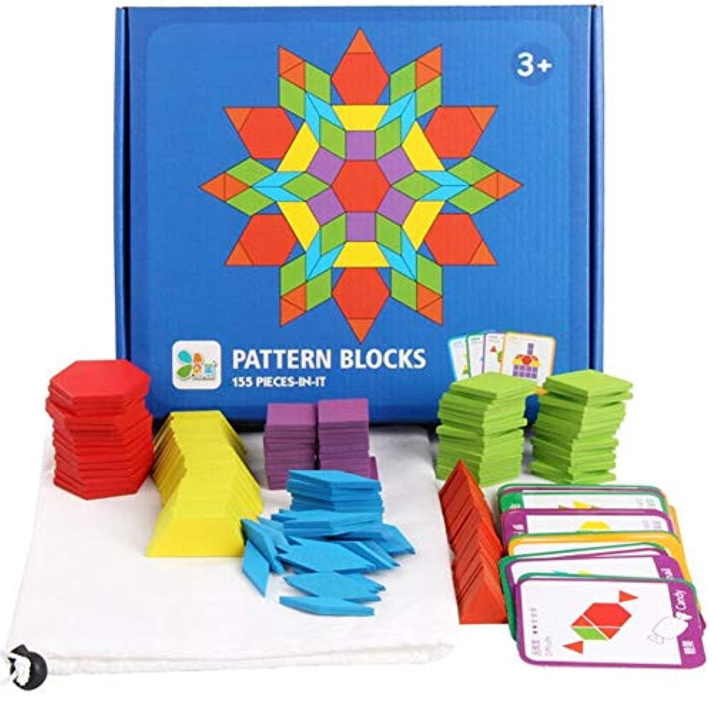 PROW DIY 木製パズルボード クラシック タングラム おもちゃ 155ピース ソリッド木製 幾何学形状 24種類の参考マニュアル 教育玩具セット 子供へのギフト