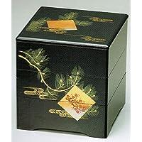 黒内朱 6.5 三段重箱 色紙松竹梅