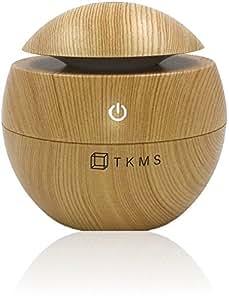 TKMS アロマディフューザー 超音波式 加湿器 USB 小型静音 130ml 木目調 インテリア アロマテラピー おしゃれ スタイリッシュ かっこいい かわいい 日本語説明書 (ナチュラル)
