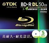 TDK データ用ブルーレイディスク 50GB BD-R(1回記録用) 4X ホワイトワイドプリンタブル 5mmケース 5枚パック