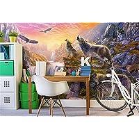 Yosot 3Dの壁紙カスタムの壁画の不織布の写真石鳴のオオカミがテレビの背景画のリビングルームのための 3Dの壁の壁画の壁紙-350Cmx245Cm