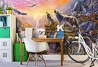 Yosot 3Dの壁紙カスタムの壁画の不織布の写真石鳴のオオカミがテレビの背景画のリビングルームのための 3Dの壁の壁画の壁紙-400Cmx280Cm