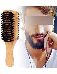 ひげのブラシ、メンズウッドのひげのブラシ両面顔の口ひげのブラシフェイスメッセージシェービングブラシ(M)