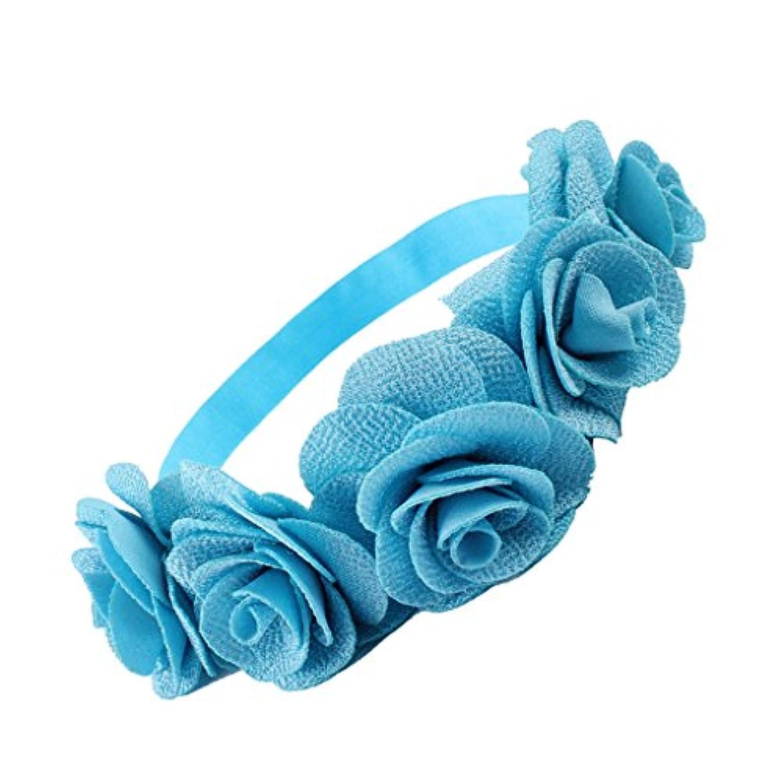 【ノーブランド品】 赤ちゃん 女の子 キッズ 花輪 ヘッドバンド ヘアバンド 髪飾り お花飾り ヘッドドレス  全5色 - Eブルー