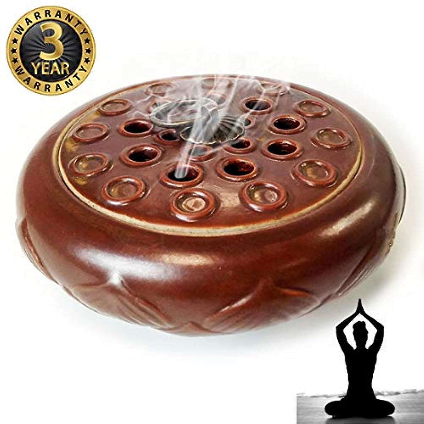線報復扱いやすいWOW 陶器製香炉ホルダー 手作り スティック/コーン/コイル線香に最適 レッド