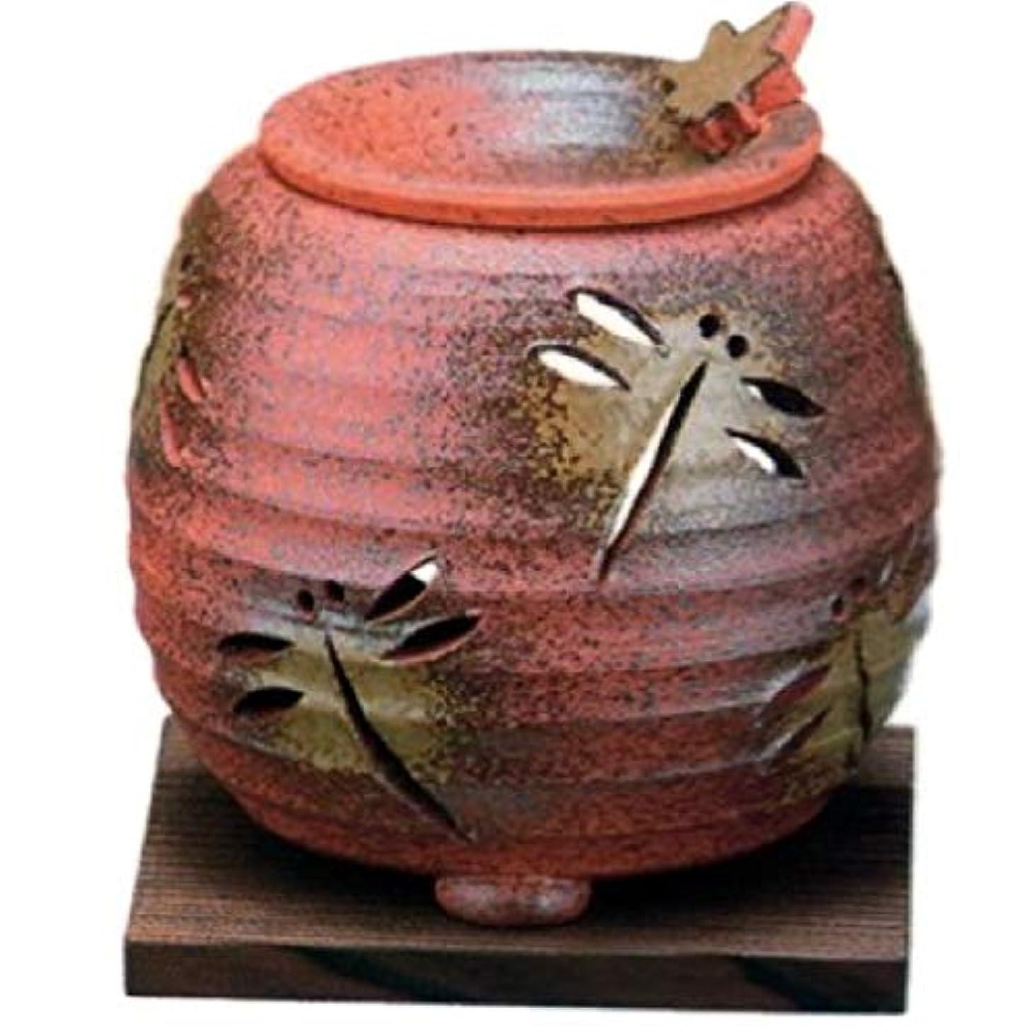 万一に備えて散歩温度計常滑焼?石龍窯 カ38-07 茶香炉 トンボ 焼杉板付 約φ11×11cm