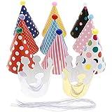 D DOLITY 誕生日帽子 クラウン バースデーハット 弾性紐付き カラフル 紙製帽子 ワンサイズ 11点