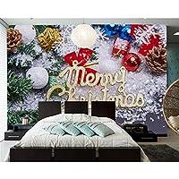 Lcymt クリスマスの壁紙、リビングルームのソファテレビ壁寝室ウォールペーパー家の装飾レストランパーティー背景壁画-350X250Cm
