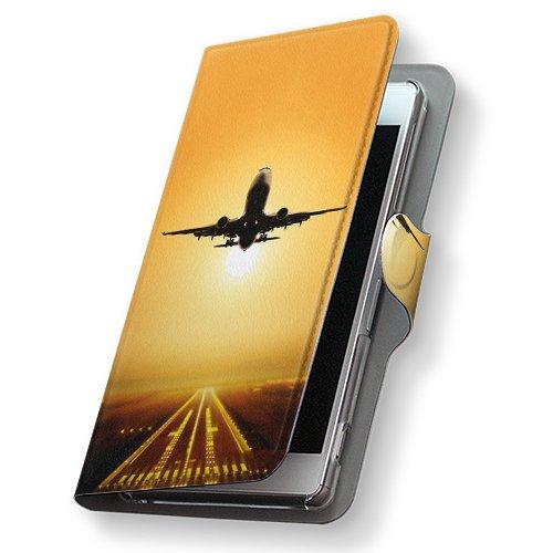 GALAXY S4 SC-04E ケース 手帳型 スマコレ 全機種対応 有り レザー 手帳タイプ 革 フリップ ダイアリー 二つ折り 横開き 革 SC04E ケース スマホケース スマホカバー 写真・風景 000850 Samsung サムスン docomo ドコモ 飛行機 夕焼け d-sc04e-000850-nb