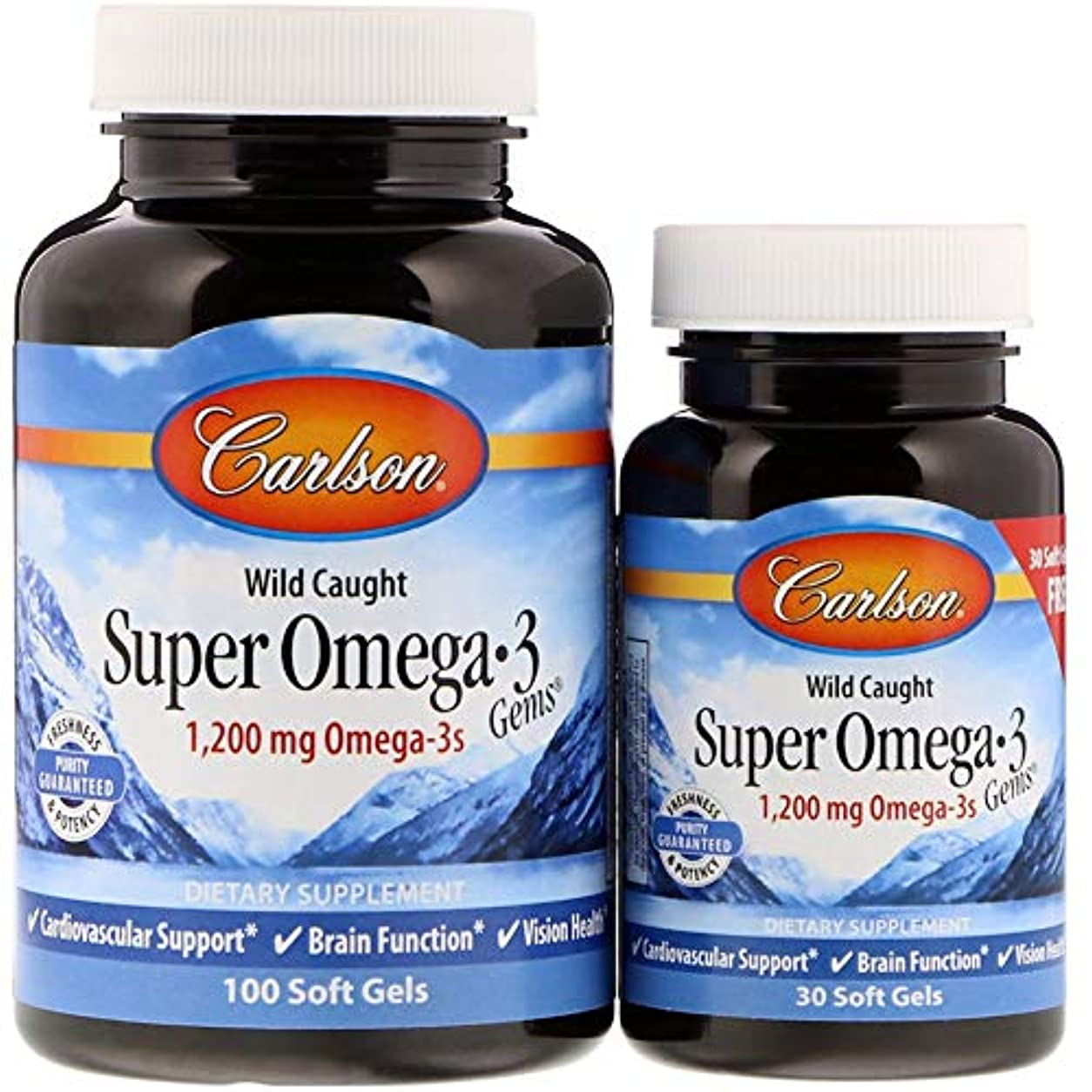 確実法廷パキスタンCarlson Labs, Super Omega?3 Gems, Fish Oil Concentrate, 1000 mg, 100 Soft Gels + Free 30 Soft Gels
