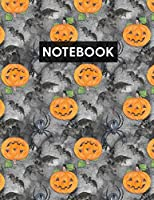 Notebook: Blank Lined Journal with Jack O Lantern and Spiders for Writing Journaling or School