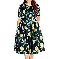 Nemidor Women's Vintage 1950's Half Sleeve Floral Print Cocktail Plus Size Swing Dress