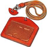 (ミラボルサ) MILA BORSA ID カードホルダー 使いこむほど味わいが出る 本物志向 の 上質 レザー カードケース ネックストラップ 付き ギフト BOX 付 (02-横型‐オレンジ)